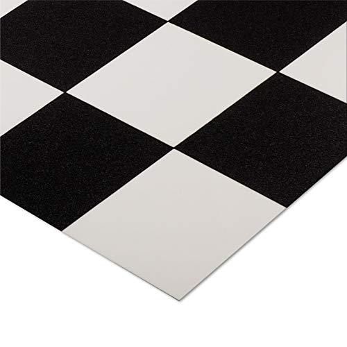 casa pura® CV Bodenbelag Damier | Schwarz Weiß kariert | edle Fliesenoptik | Oberfläche strukturiert | Meterware (200x300cm)