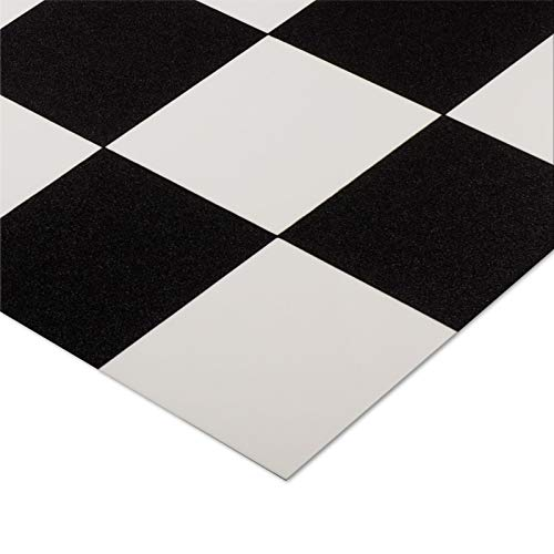casa pura® CV Bodenbelag Damier | Schwarz Weiß kariert | edle Fliesenoptik | Oberfläche strukturiert | Meterware (200x400cm)