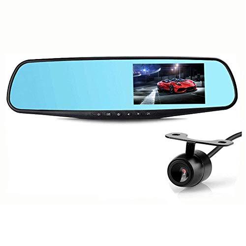 Gostyle Caméra de voiture 1080p Full HD LCD Fixation sur rétroviseur Double objectif Détection de mouvement Vision nocturne 4,3 pouces