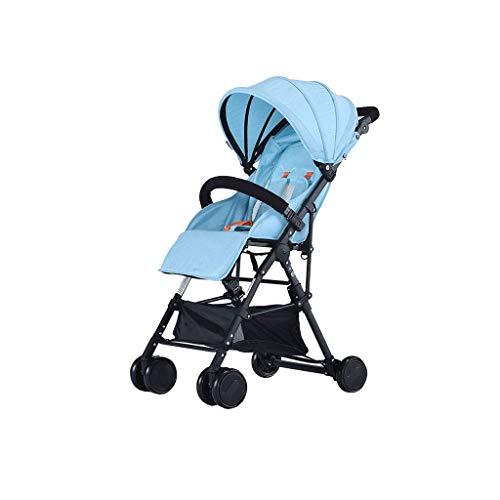 YEXIN Ligero Cochecito de bebé, Infantil Plegable Silla de Paseo con Respaldo Ajustable - Azul 0-3 岁