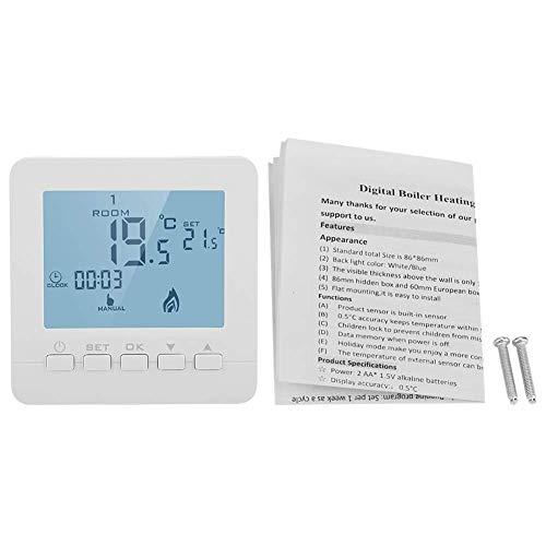 XUSHEN-HU Termostato digital, pantalla LCD Controlador de Temperatura Inteligente 5A Caldera Calefacción Termostato Programable 3.4x3.4x1.1 'Tamaño Sensor de Temperatura Sonda