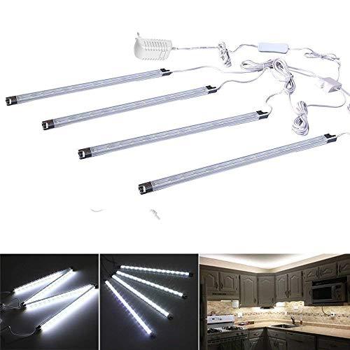 Cefrank 4 pezzi sotto l'armadio a barre luminose a led, bicchiere luce di esposizione della vetrina, lampada della vetrina (bianco freddo - 6000k)