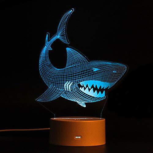 FENRIR Lámpara de ilusión 3D,luz nocturna 3D para niños y niñas,lámpara de escritorio de mesa de 7 colores que cambian de decoración del hogar,Control tactil,tiburón