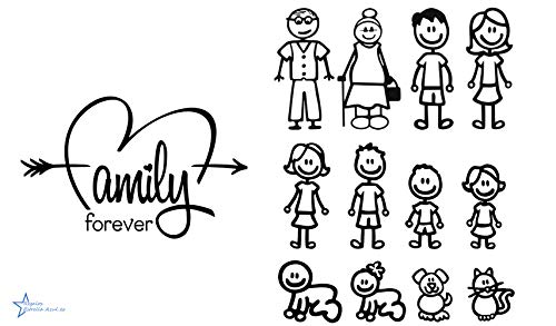 REGALOS ESTRELLA AZUL Pegatinas Coche Familia a Bordo Paquete de 13 Calcamonías Stickers para Coche (Negro)