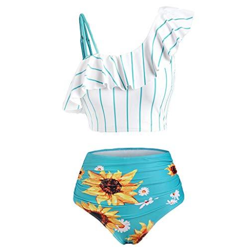 Traje de baño de dos piezas para mujer, bikini de cintura alta, hombros descubiertos, con volantes, personalizable, estampado floral, plisado, sexy