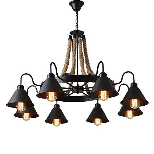 ZSAIMD 10-luces Luz pendiente de la lámpara del vintage Negro Metal, Techo faroles colgantes cuerda de cáñamo luz de techo de comedor, dormitorio, sala de estar, Foyer E27