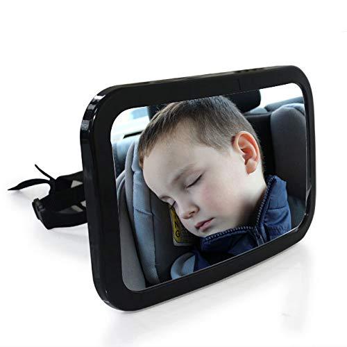 Achterbankspiegel voor baby's | Onbreekbare spiegel voor de auto met groot gezichtsveld | Babyspiegel zonder onderdelen/schroeven | 360° draaibare veiligheidsspiegel in de afmetingen 25 x 15 x 3 cm