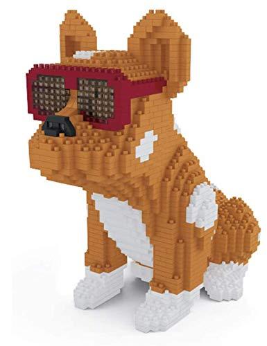 QSSQ Small Mini Blocks Diamond Building Block for Children, Pet 3D Model, Cool Bulldog Dog Eyeglasses,Yellow