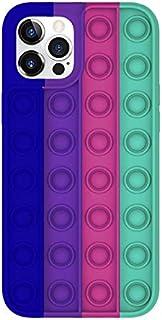 Fidget Push Pop It Silicone Phone Case (iPhone 12 / 12Pro, Dark Blue Purple Pink Green)