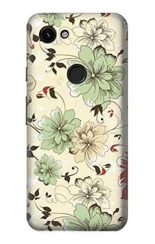 Innovedesire Flower Floral Vintage Art Pattern Etui Coque Housse pour Google Pixel 3a