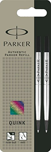 Parker S0881470 Quink Rollerball Pen Refills, Medium Point - Pack of 2, Black Ink