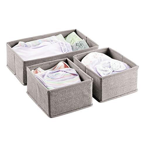 mDesign 3er-Set Baby-Organizer im Jute-Look - hervorragend für Kinderzimmer- & Spielzeug-Aufbewahrung - vielseitige Aufbewahrungsbox für Kleiderschrank, Wickeltisch & Co. - grau