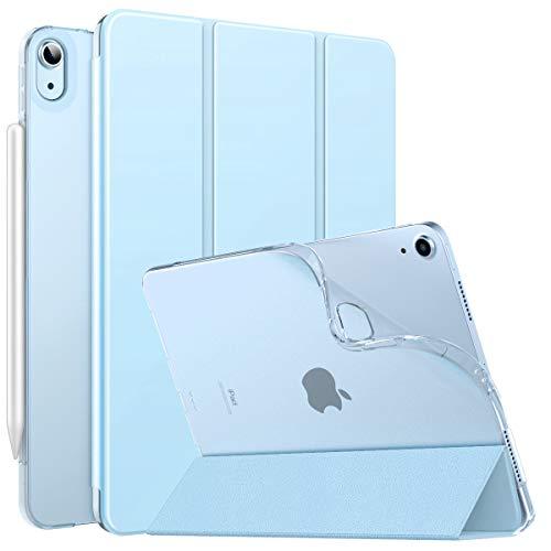 MoKo Hülle Kompatibel mit iPad Air 4. Generation 2020 Neu iPad 10.9 Zoll 2020, [Unterstützt 2. Gen iPencil Laden] Folio Schutzhülle Ständer TPU Weich Transluzent Rücken Auto Wake/Sleep, Himmelblau