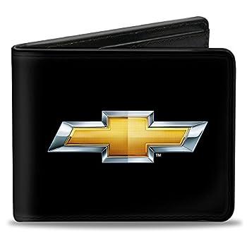 Buckle-Down mens Buckle-down Pu Bifold - Chevy Bowtie Black/Gold Logo Centered Bi Fold Wallet Multicolor 4.0 x 3.5 US