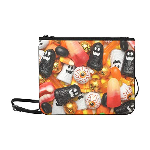 WYYWCY Halloween-gemischte Süßigkeiten Orange Schwarz Benutzerdefinierte hochwertige Nylon Slim Clutch Bag Cross-Body Bag Umhängetasche