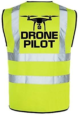 DRONE PILOT QUADCOP Hi-Vis Hi-Viz Visibility Safety Vest/Waistcoat Yellow/Orange