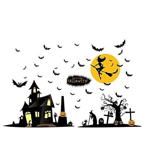 SHULI Halloween Stickers Trick of Behandel Stickers Heks Sticker Verwijderbare Window Stickers voor Halloween Thema Party