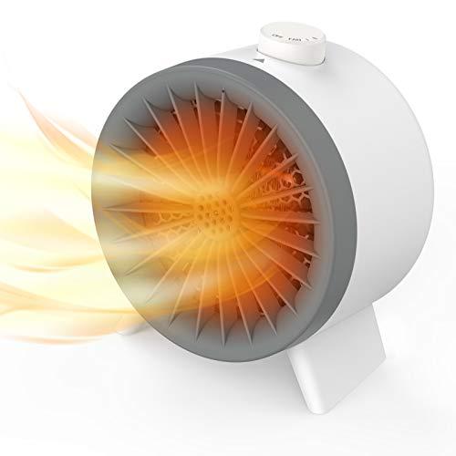 Calefactor Eléctrico Portátil,WELTEAYO Calefactor Baño Calefactor Bajo Consumo,Calentador de Aire Caliente para Personas y Mascotas,1000W,2 Velocidades,Gris oscuro/Blanco