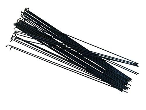Juego de 36 radios de bicicleta de Sle, de 250-303mm, negro o plata, de acero galvanizado., negro, 280 mm