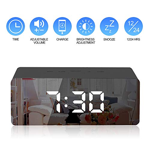 Gaoni Digital Mirror Alarm, LED Bedside Clock with Temperature, Snooze,...