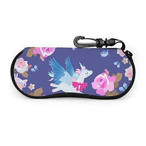 sherry-shop Estuche de gafas con mosquetón Divertido Pegasus Flying Uniocrns Mariposas entre ultraligeras Gafas de sol con cremallera portátil Estuche blando - Se adapta a la mayoría de G