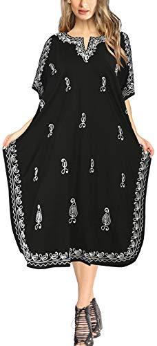 LA LEELA Damski jeden rozmiar Caftan ponczo nocna sukienka plażowa okrycie góry haftowane