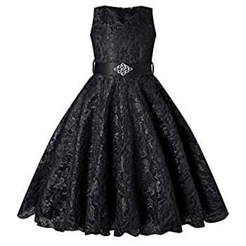 BEAUTY CHARM Girls Tulle Lace Glitter Vintage Pageant Prom Dresses with Belt Black