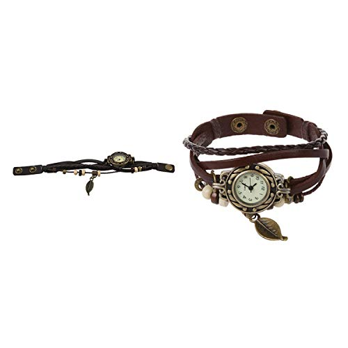 Nrpfell 2 Pcs Vintage Retro Lady Women Wrap Around Quartz Leather Band Bracelet Bangle Watch, Coffee & Dark Coffee