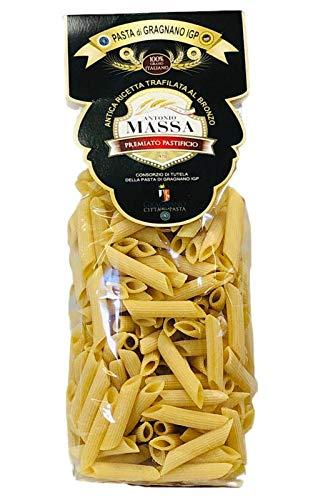 PASTA MASSA DI GRAGNANO - 2 Kg di Penne rigate (4x500 gr) Pasta di Gragnano IGP Trafilata al Bronzo con Utilizzo di Grano 100% Italiano - Eccellenza Italiana Pasta di Semola di Grano Duro