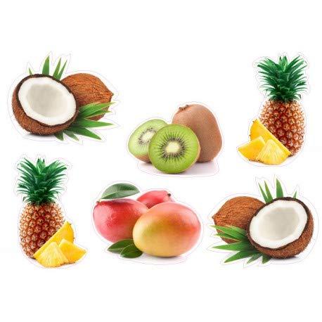 Set met 6 vruchten Kokos Ananas Kiwi Mango Exotic logo 4336 sticker keuken koelkast