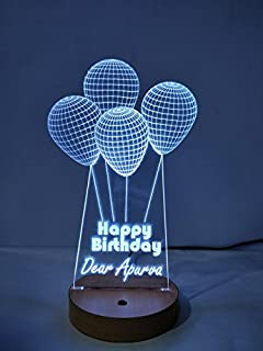 DESIGN ELLE Crystal 3D Illusion 4 Balloon Personalised Lamp with Any Text or Name (White)