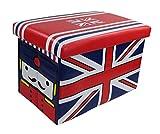 GMMH Hocker Sitzhocker England Original Box Aufbewahrungsbox Sitzwürfel Truhe Fußbank Sitzbank Faltbar
