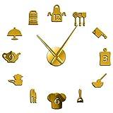 Herramientas de Cocina DIY Reloj de Pared Gigante Utensilios de Cocina Sin Marco Reloj de Pared Grande Comedor Moderno Cocina Arte Decoración Reloj