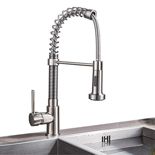 Rozin Deck Mounted 2-way Model Spray Head Pull down Kitchen Sink Faucet Spring Mixer Tap Brushed Nickel