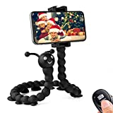 Flexible Phone Tripod,Suction Cup Cellphone Stand,Flexible Selfie Stick,Webcam Stand,Wireless Remote,Compatible with iPhone/Android/DSLR/Sports Camera-Black