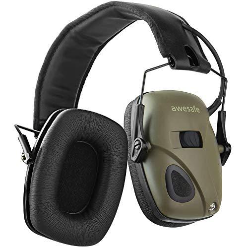 AWESAFE Proteine Elektronischer Schieß-Ohrenschützer, GF01Pro NRR 22 dB, Lärmminderung Klangverstärkung Elektronischer Gehörschutz,Gehörschutz Kopfhörer(klassisches Grün)