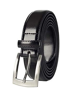 Belts for Men Mens Belt Buckle Genuine Leather Stitched Uniform Dress Belt - Black (34)