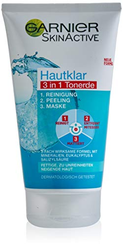 Garnier Hautklar 3 in 1 Gesichtsreinigung für unreine Haut, Reinigung, Peeling und Maske, Mit Salizylsäure und Tonerde, 1 x 150 ml