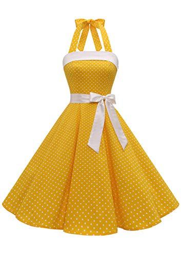 Timormode – Vestido de cóctel sexy, retro, vintage, para mujer, diseño de los años 40, 50 y 60, estilo Rockabilly, con escote B- Jaune Blanc S M