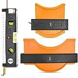 WAK Contour Gauge (10'+5')+Laser Level & Measuring Tape,Plastic Ruler for Corners,Template Tool,Profile Tool,Woodworking Templates,Tiles and Laminate,Men Master Outline Tool,Gadget for Men