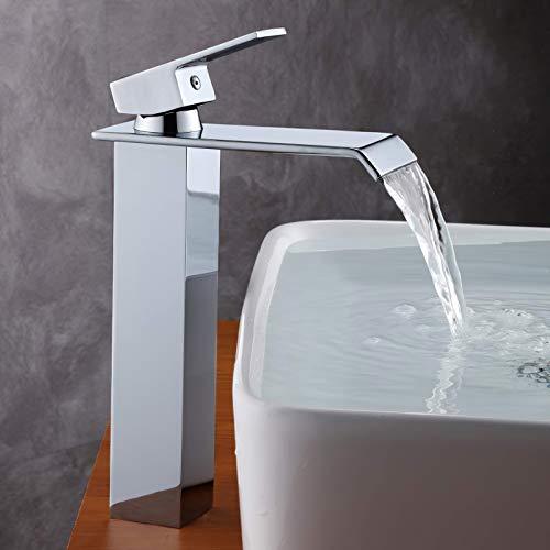 GAVAER Robinet lavabo, Haut Cascade de Robinet salle bain en Laiton Chromé, Valve en Céramique, Laiton Chromé,Style Moderne Désign en Aplati Rectangulaire.