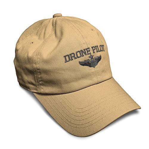 Soft Baseball Cap Drone Pilot Gray Embroidery Twill Cotton Dad Hats for Men & Women Buckle Closure Khaki