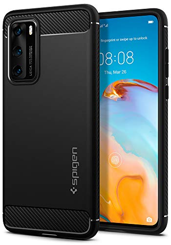 Spigen Rugged Armor Works with Huawei P40 Case (2020) - Matte Black