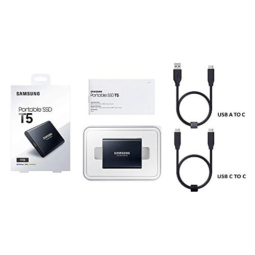 SAMSUNG T5 Portable SSD 1TB - Up to 540MB/s - USB 3.1 External Solid State Drive, Black (MU-PA1T0B/AM) Alaska