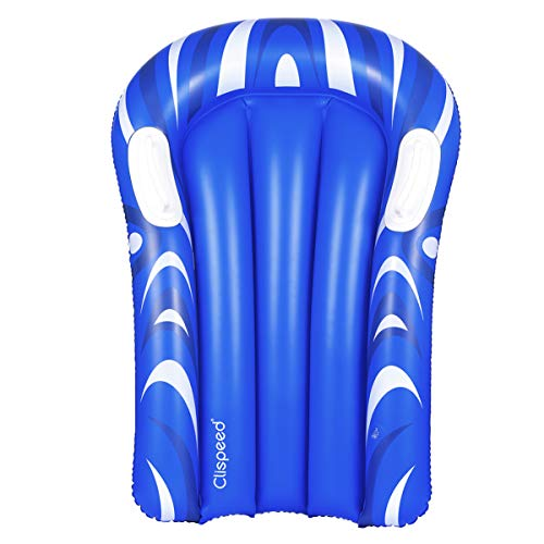 CLISPEED Inflatable Pool Float Surfboard Portable Bodyboard with Handles for Beach Surfing Swimming Summer Water Fun