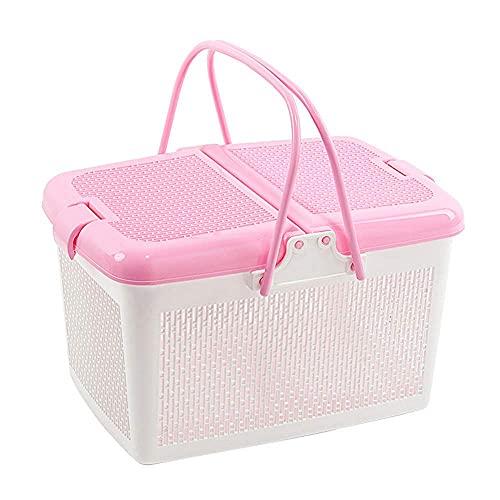 cesta con tapa con efecto mimbre de la marca