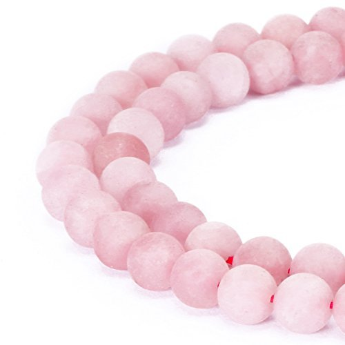 jennysun2010 Natural Matte Frosted Rose Quartz Gemstone 8mm Round Loose 50pcs Beads 1 Strand for Bracelet Necklace Earrings Jewelry Making Crafts Design Healing
