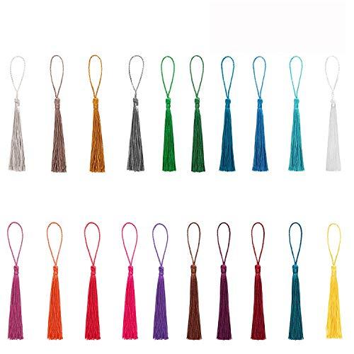 Mini-Quasten, seidig-weich, handgefertigt, inkl. Schlaufen, zur Schmuckherstellung, für DIY-Projekte, als Lesezeichen, 20 Farben zu je 5 Stück, insgesamt 100 Stück