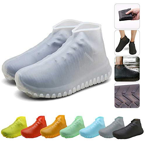 Nirohee Silicone Shoes Covers, Shoe Covers, Rain Boots Reusable Easy to Carry for Women, Men, Kids. (White, S)