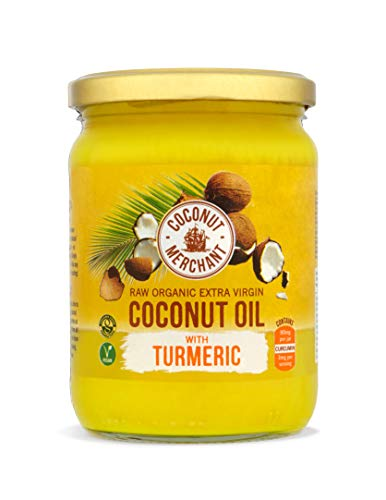Aceite de coco orgánico con cúrcuma 500 ml Coconut Merchant   Virgen Extra, Crudo, prensado en frío, sin refinar   Producido de forma Ética, Vegano, dieta Keto y 100{1f90592a740229502214703608c2f51dbc6bf56db9feea825bc0f349849acb14} Natural Para Cocinar, 500ml